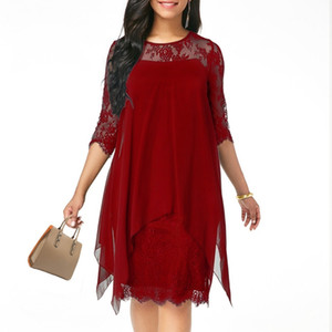 XS-5XL Solid Color Three Quarter Sleeve Lace Dress Round Neck Women Elegant Overlay Chiffon Plus Size2019 New Fashion