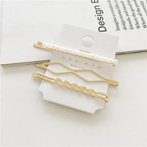 Venta caliente en vogue korean hair clip yiwu fábrica venta al por mayor perla custom hair clip de cuatro piezas traje