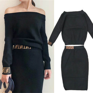 Sonbahar Kadın Kazak Düzenli Uzun Kollu Mürettebat Boyun Tasarımcı 2019 Yeni Elbise Suit Mektuplar Baskı Panelli Moda Kadın Giysileri