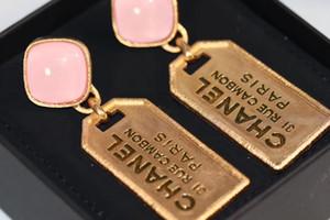 Lo nuevo pendiente de gota de la calidad de lujo de estilo de la vendimia con el regalo de color rosa hibisco de piedra natural joyería de las mujeres encanto libre PS5763A envío