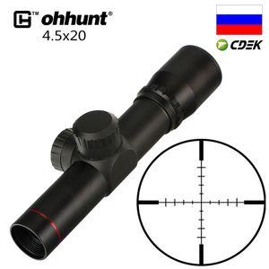 Caça Âmbito 4.5x20 1 polegada Compact Hunting Rifle Âmbito Tactical Optical Visão P4 vidro jateado Reticle Riflescope flip-aberto Lens Caps