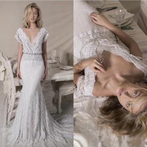 2020 atractivo Lihi Hod boda vestidos de cuello en V manga corta de encaje con lentejuelas de Bohemia Playa Vestidos de novia sirena vestido de novia de Boho