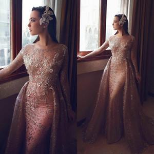 Manga comprida champanhe lantejoulas sereia árabe dubai vestidos de baile 2020 vestido de noite vestidos de festa plus size abendkleider robe de soirée