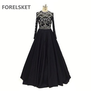 Crystal Beading Satin Black Prom Dresses Long Sleeves 2020 Sequined Sheer O Neck Formal Evening Dresses Illusion Dubai Women's Party Gowns