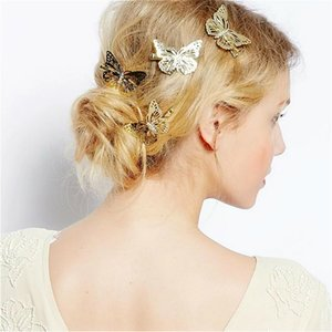 European USA Hot Selling Fashion Wedding Engagement Bride Hair Pins Hollowed Out Butterfly Hair Duck Clips