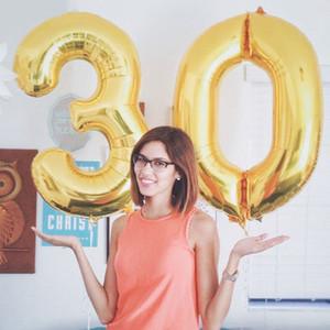 Eco-Friendly 21pcs / Lot 40 pollici oro Numero 30 stagnola Balloons + aerostati del lattice + Scrap 30 ° Anniversario accessori per la decorazione di festa di compleanno