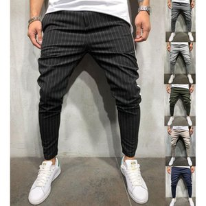 2020 Mens Luxury Designer Pants Casual Striped Panelled Pancil Pants Fit Slim Trousers Plus Size Male Clothing
