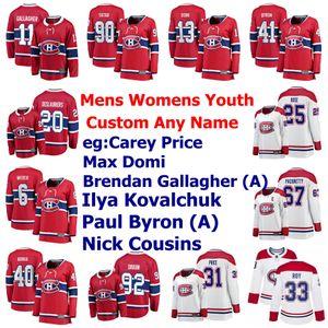 Montreal Canadiens jerseys para hombre Ilya Kovalchuk Jersey Carey Precio Brendan Gallagher Jonathan Drouin Fleury hockey jerseys cosido personalizada