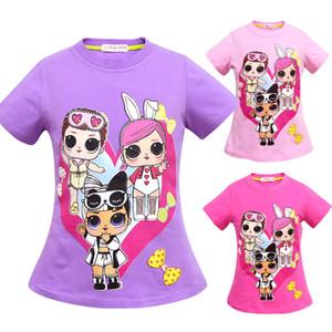 T gömlek 3D renk Baskı Yeni Karikatür Kız Kısa kollu T-shirt Yaz Nefes çocuk giyim Çocuk Çocuk Giyim Üst Giyim