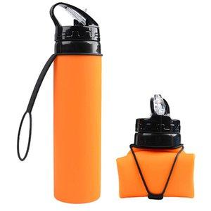 Tasses d'eau en silicone avec paille créative équitation Bouteilles d'eau pliables 600ml Sports de plein air Portable pliable Tasses de qualité alimentaire BH0769 TQQ