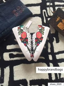 Luxury Men Women Couples Genuine Leather Embroidery Bee Snake Flowers Casual Shoes Sneakers 35-45 With