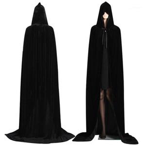 Kumaş Yetişkin Cadılar Bayramı Necromancer Kostüm Retro Stil Saf Renk Komik Cadılar Bayramı Teması Cloak Festivali Cosplay Partisi
