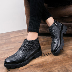 CIMIM Men Business High Help Crocodile Leather Shoes Fashion Comfortable Casual Men Boots Italy Boots