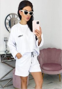 Women's 1 set Fashion Tracksuit with Letters Women Summer Sportswear Short Sleeves Pullover Jogger Pants Suits O-Neck Sportsuit