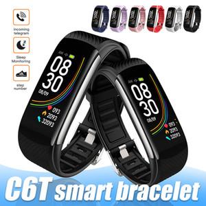 Pulsera inteligente C6T Tasa inteligente del corazón del reloj del monitor de Bluetooth IP68 Nivel impermeable rastreador de ejercicios Para androide universal en caja al por menor