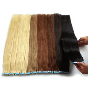머리에 # 60 스트레이트 진짜 인간의 머리 확장 테이프 레미 인간의 머리카락 확장 플래티넘 금발 컬러의 24 개 인치 100Gram 40PCS 원활한 테이프