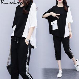 Femmes Large Plus Size sport 4XL conviennent haut et le pantalon deux pièces Sportwear Survêtement Assortiment Outfit 2020 Summer Big Vêtements