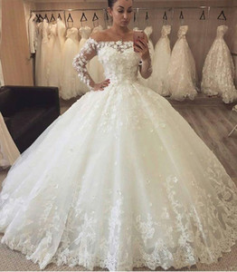 2020 Arabic Puffy A Line Wedding Dresses Off Shoulder Illusion 3D Flower Lace Applique Long Sleeve Sweep Train Ball Gown Formal Bridal Gowns