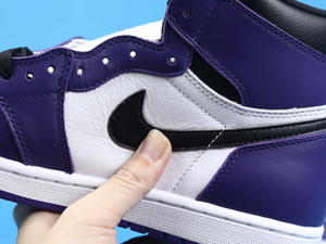 1 Retro High Court Purple White 1s basketball Shoes with COURT PURPLE WHITE BLACK 555088-500 designer trainers Schuhe basketball sneakers