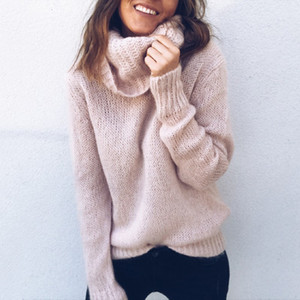 La nueva manera caliente del invierno 2019 Mantener suéteres de punto casual Turtelneck manga larga Jumper suelta suéteres Femme