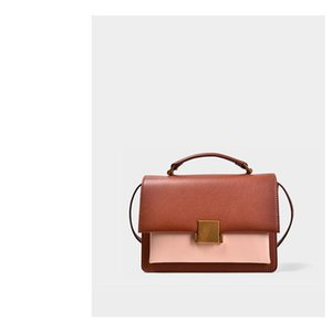 Hit Charm2019 Cor mulher pequena Praça Genuine Leather Handbag ombro único pacote Span