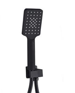 Matt Black Handduschkopf 3 Funktion Badezimmer Brausehalter und 1,5 m Edelstahl-Schlauch Zubehör für das Badezimmer TH387