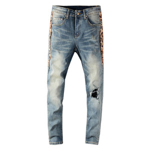 Side leopardo Buracos impressão dos retalhos homens Streetwear Skinny Jeans Ripped Jeans magro magro denim stretch Pants