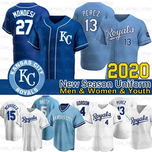 Kansas City Whit Merrifield Jersey Jorge Soler Hunter Dozier Bubba Starling Alex Gordon Ryan O'Hearn 2020 nova temporada jérseis de basebol