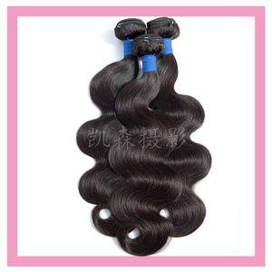 "Cabelo da Malásia Virgin Humano 3 Pacotes Onda Heterossexual Duplo tramas Natural Color Barato 3 Pieces / Lote produtos de cabelo 8-30"""