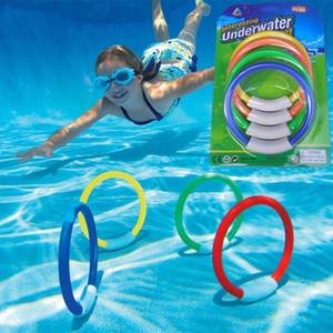 4pcs Submarino niños de buceo Anillo Set Juego de Agua Juguetes Deporte buceo Anillo Beach Summer Fun juguete para niños Con piscina Accesorios