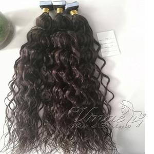 Remy Afro Kinky eau corps bouclés droite vague profonde 3B 3C 4B 4C Vierge naturelle peau Trame Tape Extension de cheveux humains