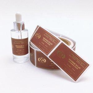 Personalizado da folha de ouro do retângulo autoadesivas Garrafas Embalagem Etiquetas senhoras Cosméticos Cuidados com o corpo etiquetas de empacotamento Back Side em Silver