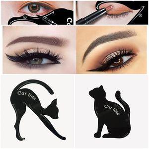 2 em 1 Gato Eyeliner Stencil Multifunction do olho de gato Stencil Eyeliner estêncil para Eye Liner cartoes de Fish Tail Duplo Ala Eyeliner Stenci