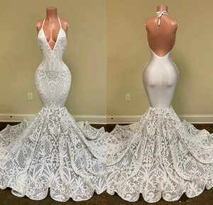 Luxury Lace Applique Prom Formal Dresses 2020 Real Image Halter Backless Ruffles Train Trumpet Occasion Evening Dress Wear