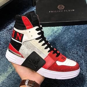 Kutu Erkek Ayakkabı Çizme Lüks CHAUSSURES adamlar Ayakkabı Sneakers Moda Spor Eğitmenler Yumuşak Yüksek Top Sneakers hommes Hi-Top Kristal Q332 dökmek