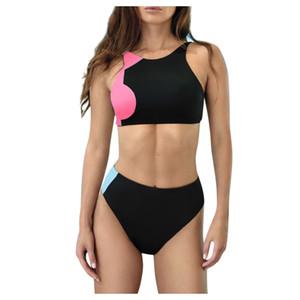 kadın bikini için yuvarlak boyun bikini kontrast renk mayo yaz yüzme seti rahat bodysuit büyük beden tankini kadınları mayo