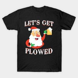 Men t-shirt Lets Get Plowed Santa Claus Beer Funny Christmas Gift tshirt Women t shirt