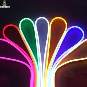 LED Esnek Neon Şerit Işık 110V 220V 2835 5050 LED Neon Burcu Su geçirmez Flex Halat Işık Dış Aydınlatma 120led