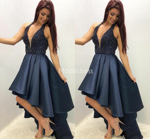 2019 Arabric Biling Courtes Robes De Bal High Low Low Perles Col En V Moderne Formelle Robe De Soirée De Charme Charmante Occasion Spéciale Robe Chic Robes
