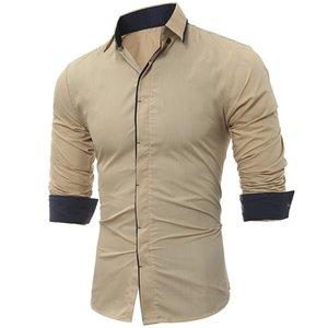 Camisa para hombre Moda Hombre Camisa-tapas de las mangas marino clásico del acelerador del color del golpe lateral de vestir para hombre adelgazan las camisas de los hombres camisa