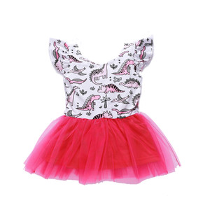 أكمام طفلة فساتين الكرتون ليتل الديناصور مطبوعة اللباس ليتل الأميرة فستان قصير GirlsDresses اللباس 18