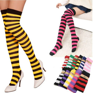1Pair New Women Girls Over Knee Long Stripe Printed Thigh High Striped Patterned Socks 11 Colors Sweet Cute Warm Wholesale Lot