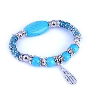 Turquoise Stone Strands Bracelets Vintage Silver Ethnic Beaded Charm Zinc Alloy Lady Bangle Fashion Beads Jewelry for Girls Women Blue White