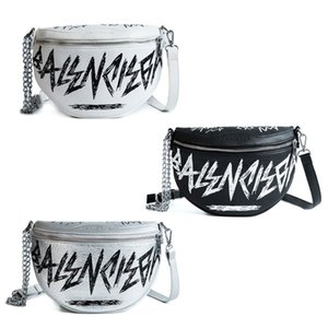Women PU Leather with Letter Graffiti Waist Bag Phone Pouch Chain Fanny Pack Travel Belt Purse Shoulder Crossbody Bags