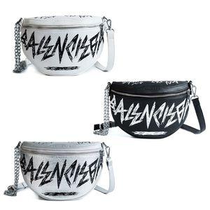 Las mujeres de cuero de la PU con la letra graffiti bolso de la cintura bolsa de teléfono cadena paquete de fanny paquete de cinturón de viaje hombro bandolera bolsos