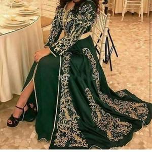 2020 Elegante Morcan Kaftan Dark Green Langarm Abendkleider Gold-Applikationen vorne Split Dubai Muslim formale Gelegenheit Abendkleid