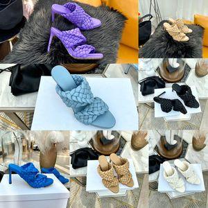 Sandali tessuti donne tacchi alti sandali Curve allungate mandorla punta Mules scarpe da donna di lusso stilista tacchi alti