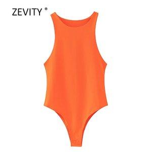 colores caramelo de la manera Zevity nuevas mujeres monos hembra delgada elegante sin mangas o cuello del chaleco playsuits ocio tapas de la blusa P859