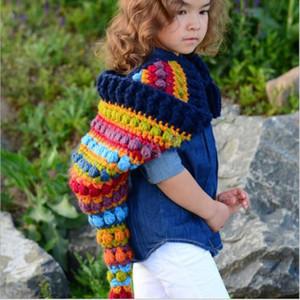 الذيل طويل قوس قزح قبعة طفل اليدوية والحياكة القبعات الشتوية قبعات الدافئة الملونة فتاة الأميرة كاب WY470
