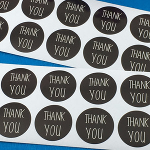 3cm 지름 검은 종이 당신 스티커 접착 레이블 DIY 손으로 만든 용 카드 / 보석 / 박스 / 선물 / 구워 레이블 감사